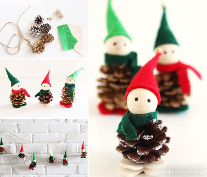 basteln weihnachten kinder, kleine figuren aus tannenzapfen, girlande selber machen, filzstoff