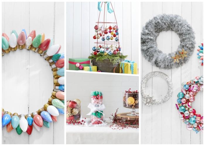 basteln weihnachten, kranz aus gefärbten glühbirnen, festluche tichdeko, silberne girlande