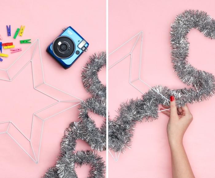 kreative weihnachtsbastelideen, blaues fotapparat, stren aus draht, kranz machen, girlande