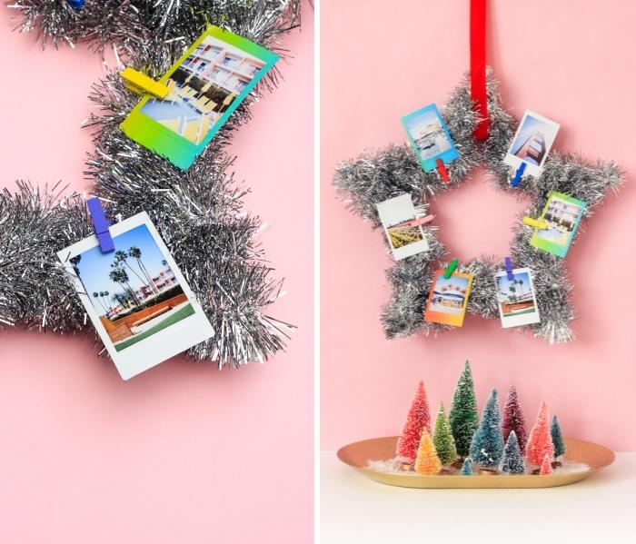 basteln zu weihnachten, rote schleife, kranz in der form von stern dakoriert mit fotos