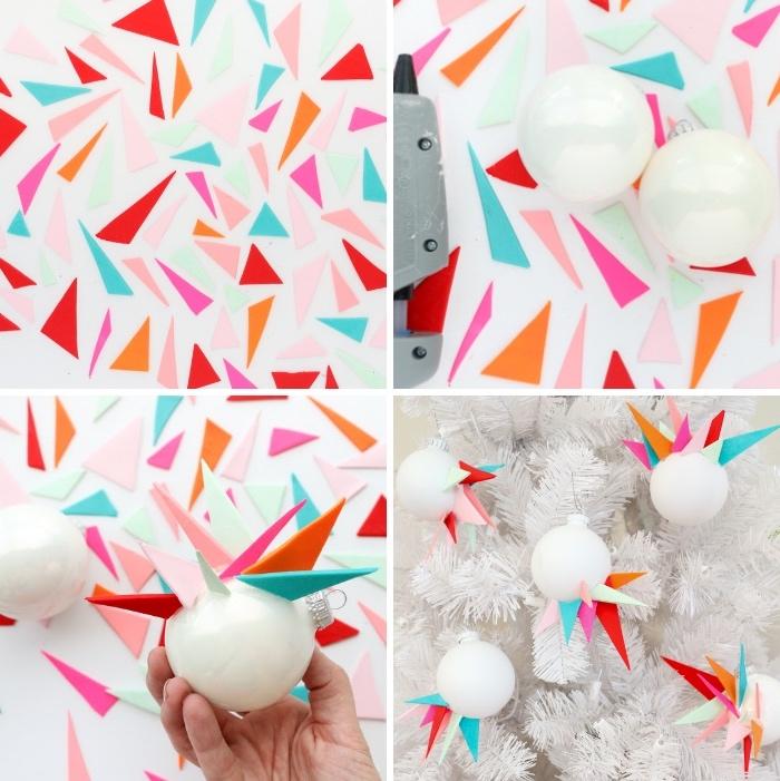 basteln zu weihnachten, bunte dreiecke, weiße kugel, weißer tannenbaum