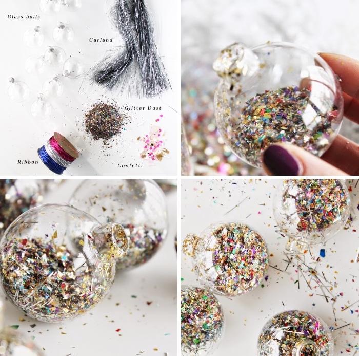 basteln zu weihnachten, bunte konfetti, transparente kugel, diy anleitung, collage