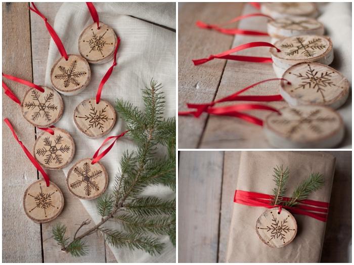 basteln zu weihnachten, kleine holyscheiben, schneeflocke zweichnen, rote schleife