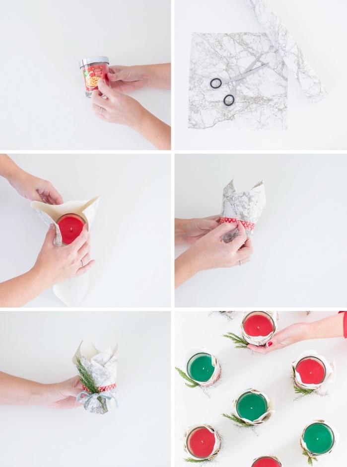 basteln zu weihnachten, papier mit marmor muster, grüne und rote kerzen, diy geschenke