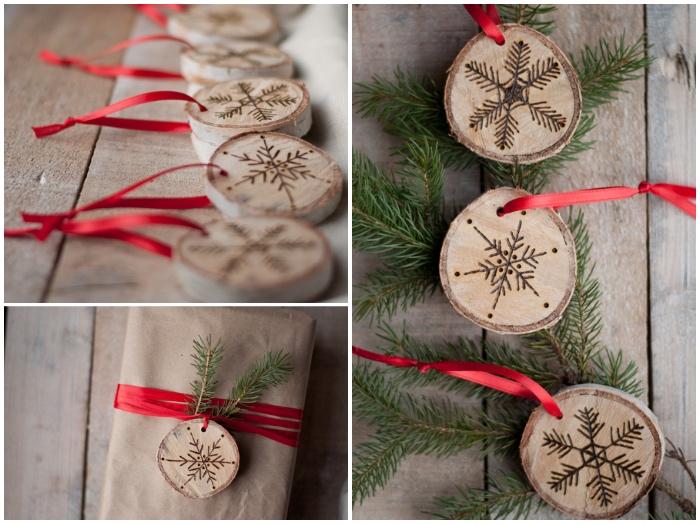 rote schleife, basteln zu weihnachten, weihnachtsschmuck aus holz, grüne zweige