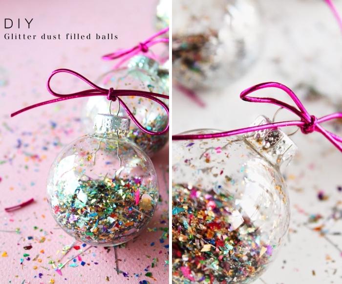 basteln zu weihnachten, rosa schnur, transparente weihnachtskugel gefüllt mit konfetti
