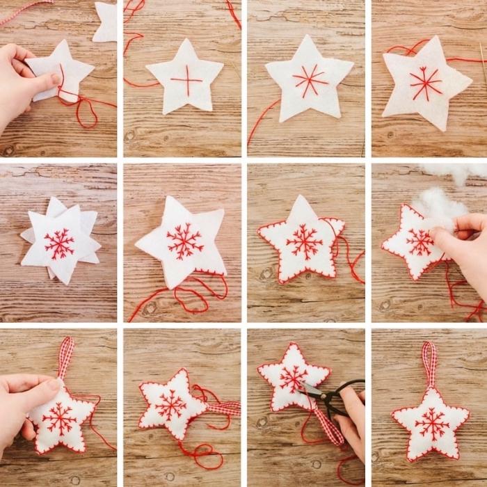 basteln zu weihnachten, weißer stoff, stern ausschneiden, schneeflocke nähen