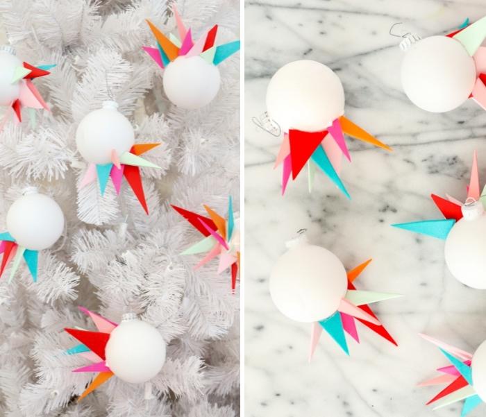 basteln zu weihnachten, weiße tannenbaum, asymmetrische kugel mit geometrischen elementen