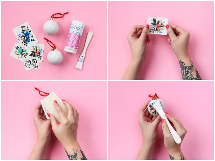 basteln zu weihnachten, bunte sticker, weiße farbe, weihnachtskugel dekorieren, diy anleitung