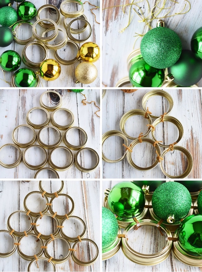 basteln zu weihnachten, grüne und goldene weihanchtskugeln, viele verschlussdeckeln