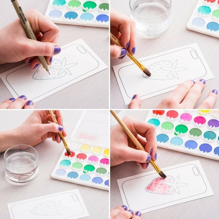 Collage von DIY Anleitung, iphone 6s handyhülle selbst gestalten, Zeichnen von Erdbeere, bemalen in pink mit Pinsel