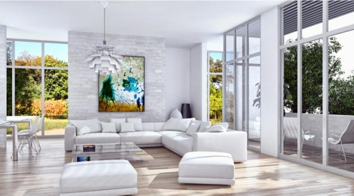 bilder wohnzimmer, einrichtung in weiß, farbenfrohes bild über dem sofa, einrichtungsideen