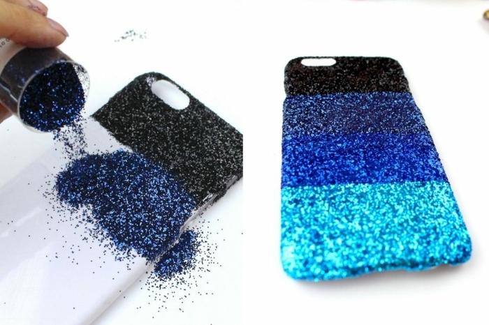 Mit blauen Glittern regelmäßig bestreuen, Handyhüllen selbst gestalten, Ombre Effekt mit blauen Schattierungen