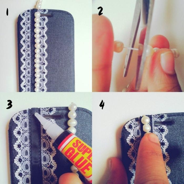 vier Schritte, wie Sie Perlen zu der Handyhülle fixieren, schöne Handyhüllen zum Bewundern