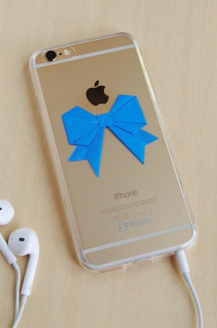 Iphone Handyhülle, blaue Schleife aus Papier, schöne Handyhüllen mit Fantasie verschönert