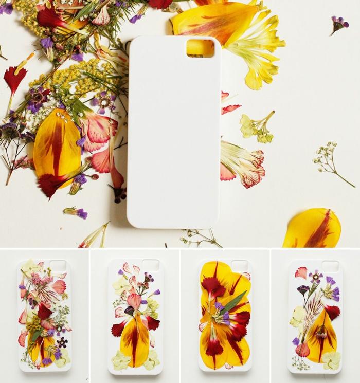 weiße Handyhülle selbst gestalten, gepressten bunte Blumen in gelb und rot, verschiedene Arrangements
