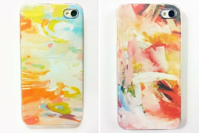schöne Handyhüllen mit bunten Flecken, die wie echte Kunstobjekte von Expressionismus aussehen