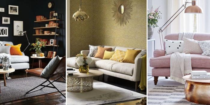 1001 ideen f r eine moderne und stilvolle wohnzimmer deko - Goldene wanddeko ...