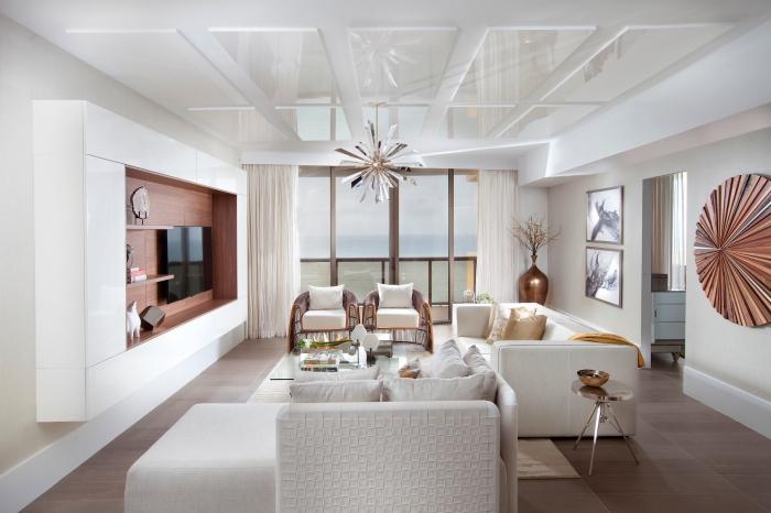 deko wohnzimmer modern, einrichtung in weiß und rosegold, ideen für kleine räume