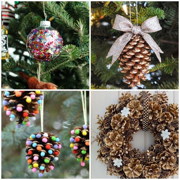 basteln mit tannenzapfen, dekoideen weihnachten, bunte konfetti, silberne schleife, türkranz