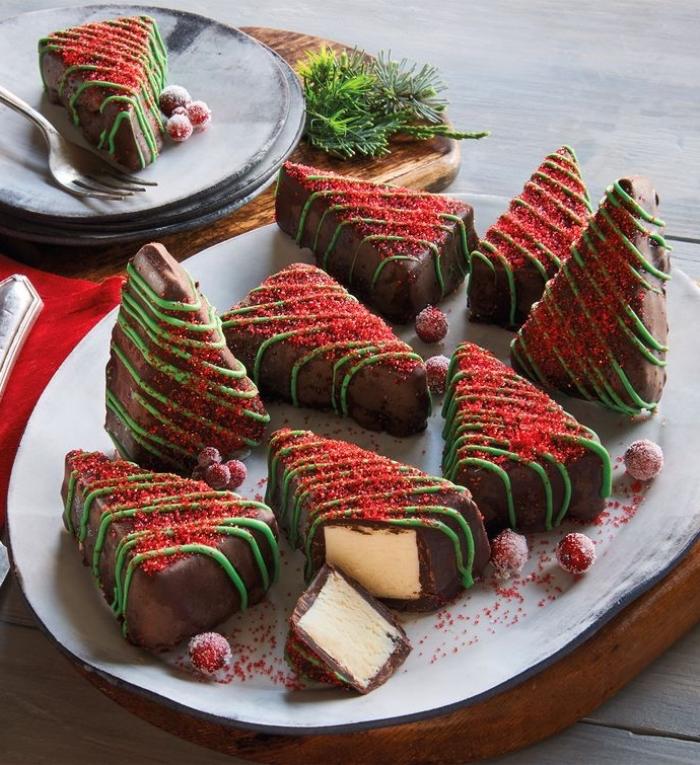 riegel mit creme und schokolade, dessert weihnachten, einfache rezepte, weihnachtsdessert