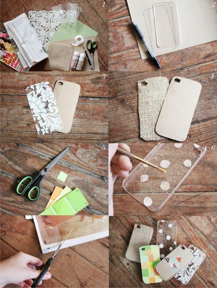 DIY Anleitung für handyhülle selbest designen, Zubehör Stoff und Karton, bemalen mit Acrylfarben in beige