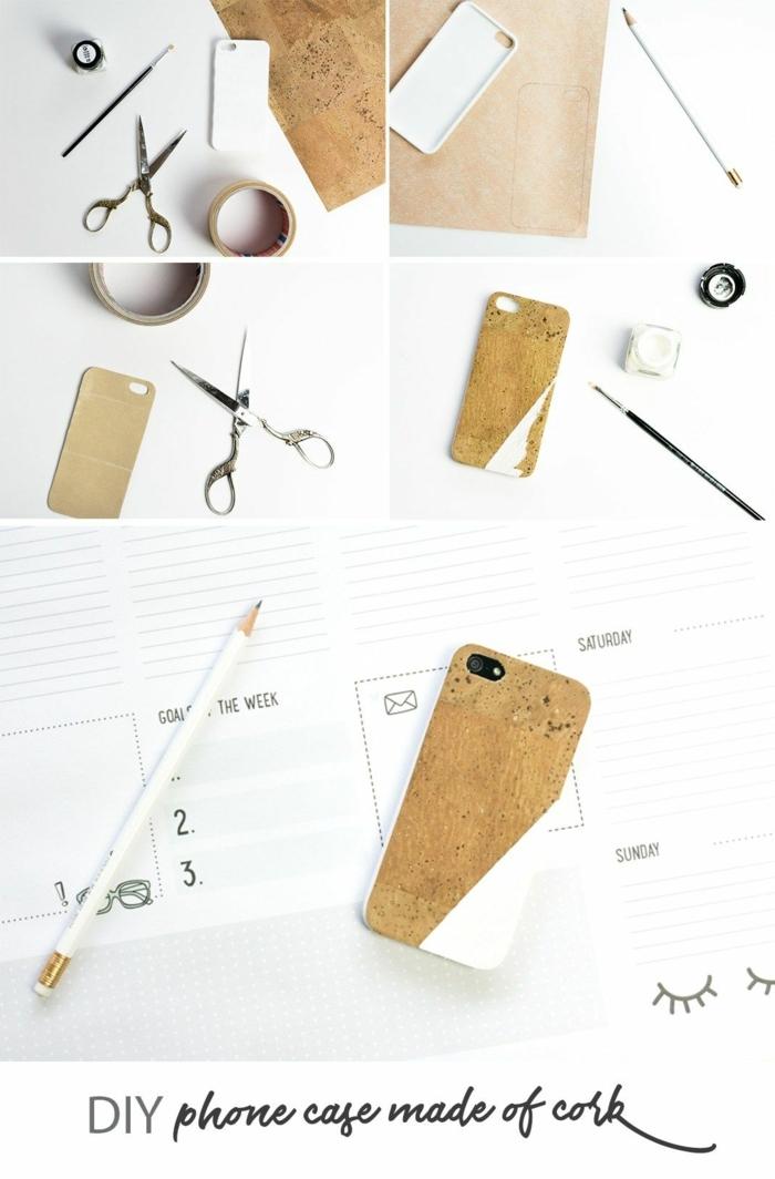 Handyhülle erstellen aus Kork, DIY Anleitung zum Selbermachen, Zubehör Schere und Band und Bleistift