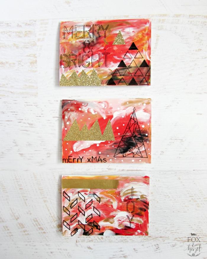 drei Karten mit Glückwünsche zu Weihnachten, rote Karten, Weihnachtskarten drucken