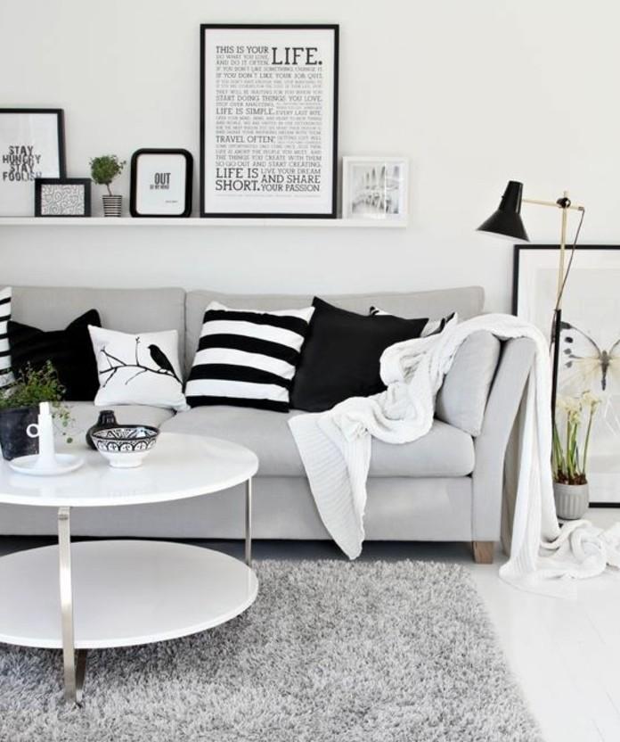 grauer Teppich, weiße Leistne mit Bildern, welche Farbe passt zu Grau, weißer runder Tisch