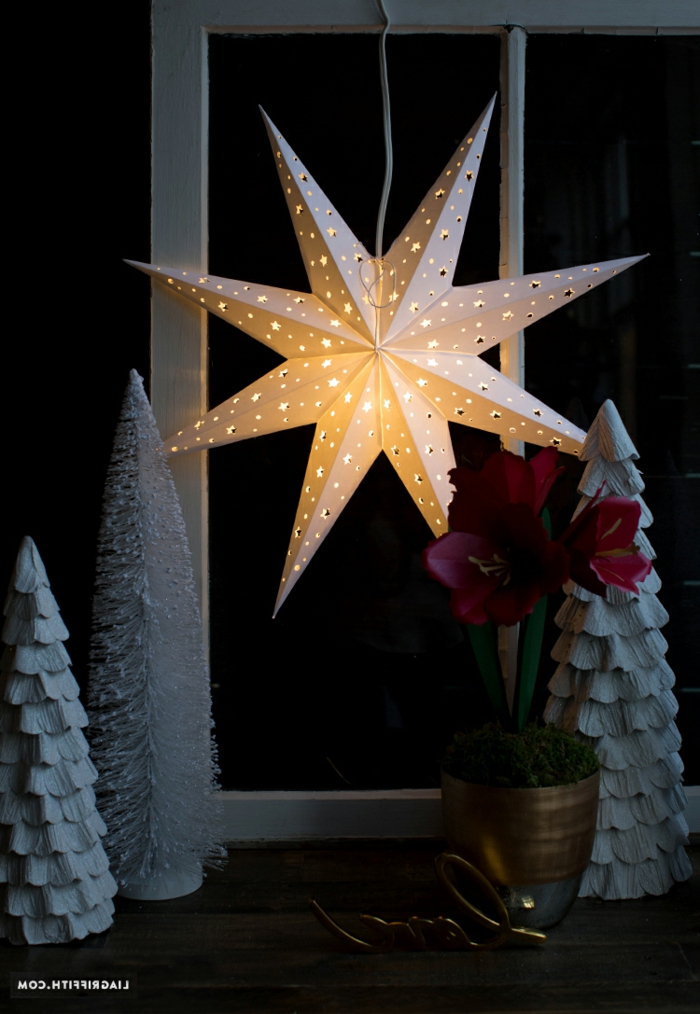 bildschöner Stern, Bastelideen Weihnachten, eine perfekte Weihnachtsdeko mit Muster von Sternchen