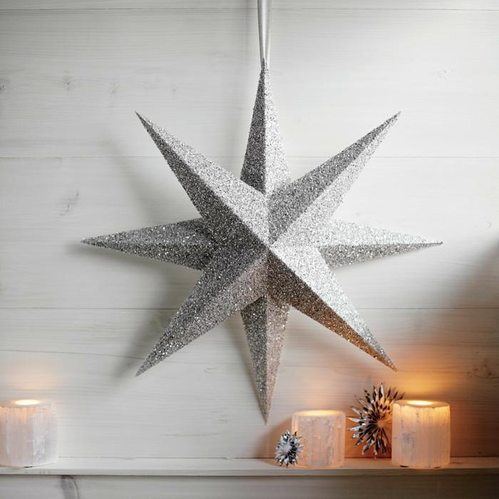 ein silberner Stern mit acht Strahlen, 3D Stern mit Glitter bedeckt, Weihnachtssterne falten