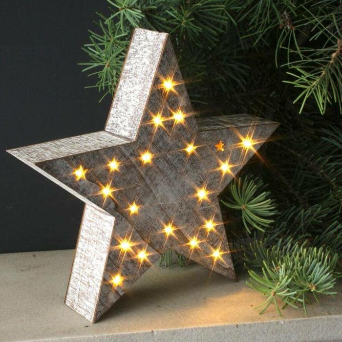 ein leuchtender Stern, Basteln zu Weihnachten, ein Stern mit fünf Spitzen und Lichterkette darin
