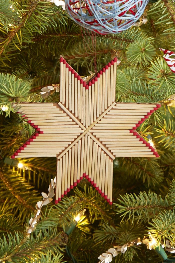ein Stern aus Streichholz, verschönert den Weihnachtsbaum, Basteln zu Weihnachten