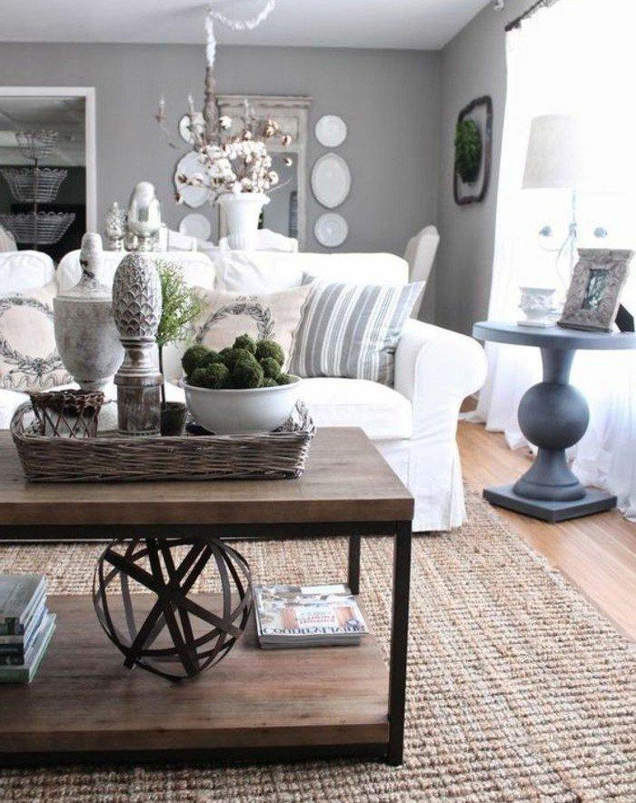 ein Tisch aus Holz, weißes Sofa, ein runder grauer Tisch, Sofa in weißer Farbe, Wohnzimmer Ideen Weiß Grau