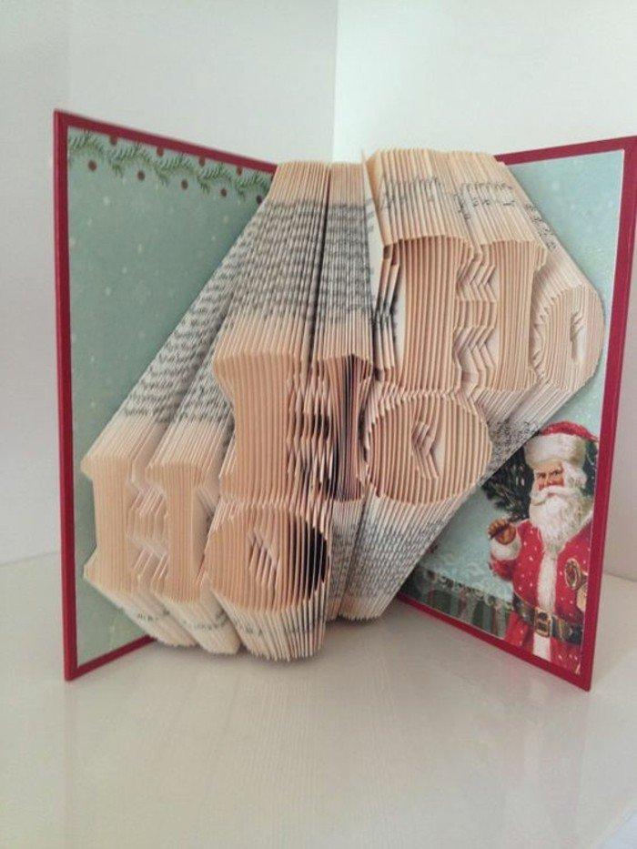 dreimal Ho und ein Bild von Weihnachtsmann, aus alten Bücher falten zu Weihnachten