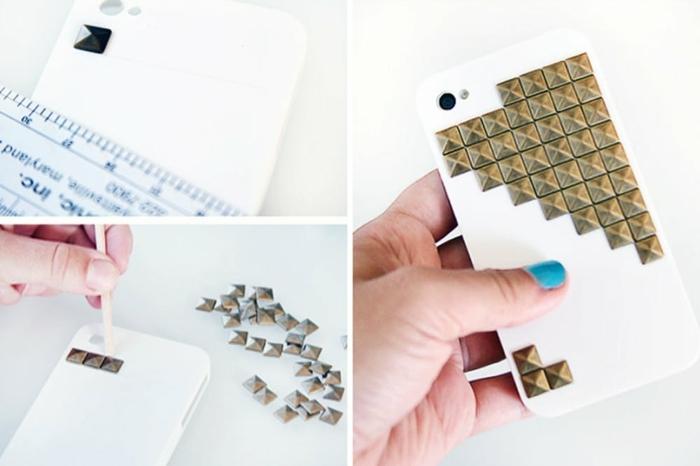 weiße Handyhülle mit goldfarbene Glasperlen verschönern, in zwei Schritten in Collage gezeigt