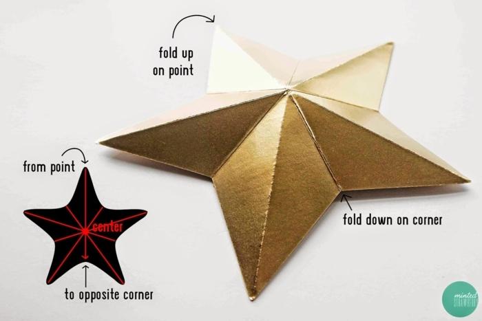 eine Faltanleitung von einem goldfarbenen Stern, Weihnachtssterne basteln, mit Anweisungen auf Englisch