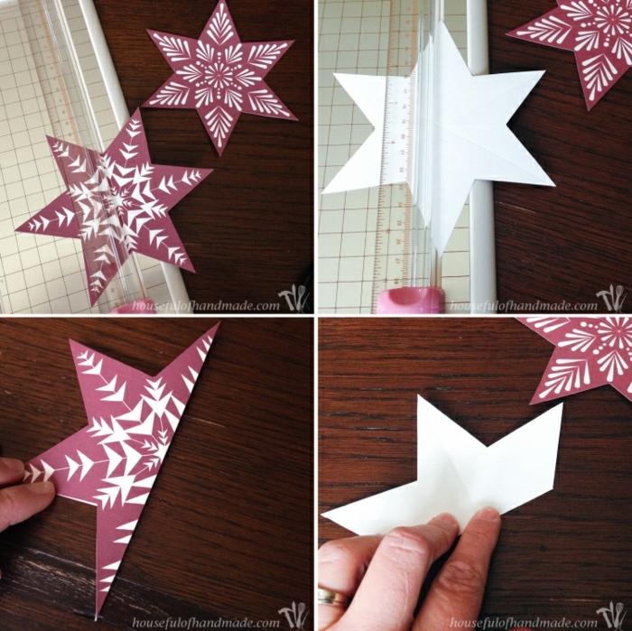 eine Faltanleitung für 3D Stern, lila Stern mit Schneeflocken Motiven, Bastelideen Weihnachten