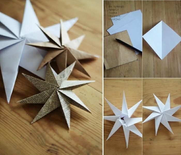 drei Sterne aus Altpapier mit einer Faltanleitung, Weihnachtssterne basteln in drei Farben