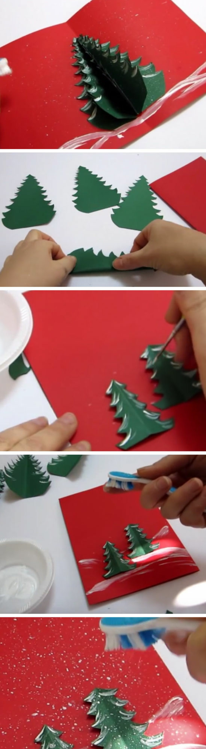 rote Karte mit Tannenbäumen verschönert, Weihnachtskarte drucken und verzieren
