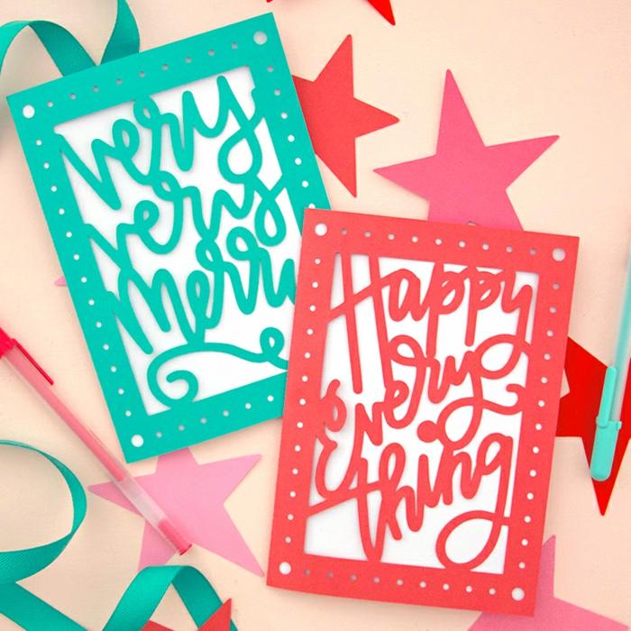 zwei inspirierende Botschaften auf grüne und rote Weihnachtskarten drucken, viele Sterne