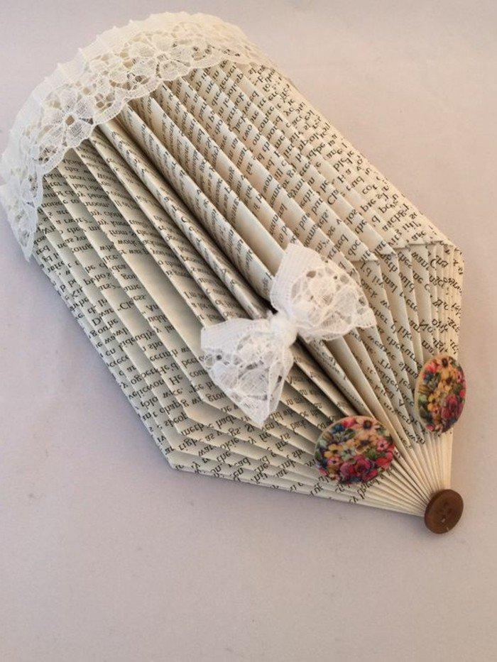 ein Igel mit weißer Schleife, bunte Buttons als Schmuckstücke, weiße Spitze, Buchseiten falten