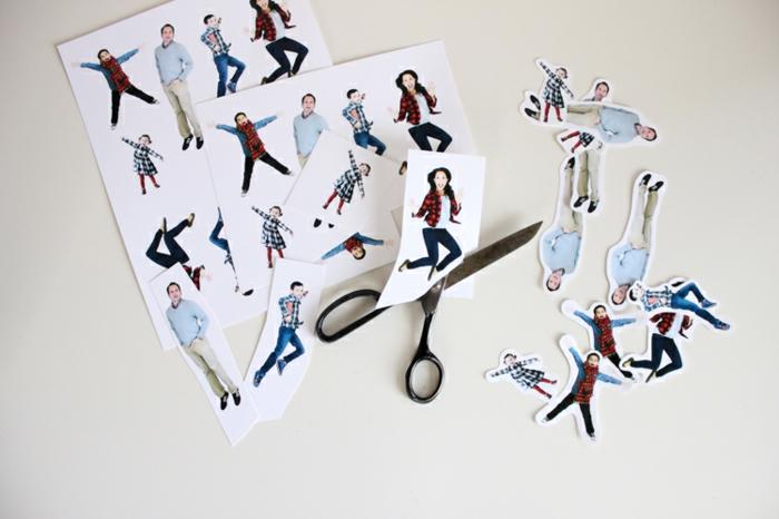 eine Menge Fotos von netten Menschen, lustige Weihnachtskarten, Fotos auf weißem Hintergrund