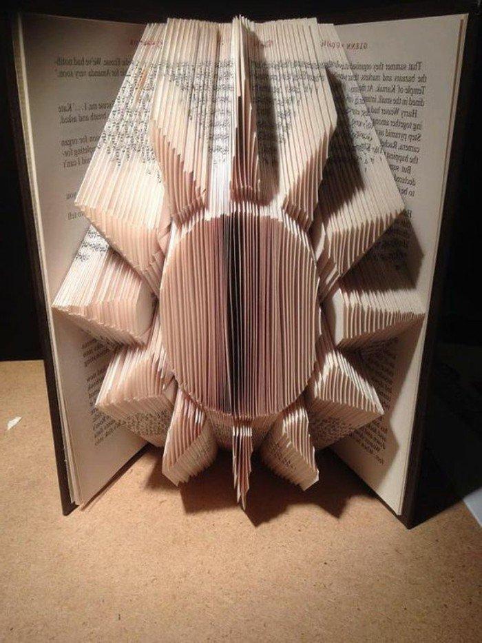 eine Sonne aus Papier mit vielen Strahlen, Buchseiten falten, ein bildschönes Bastelprojekt