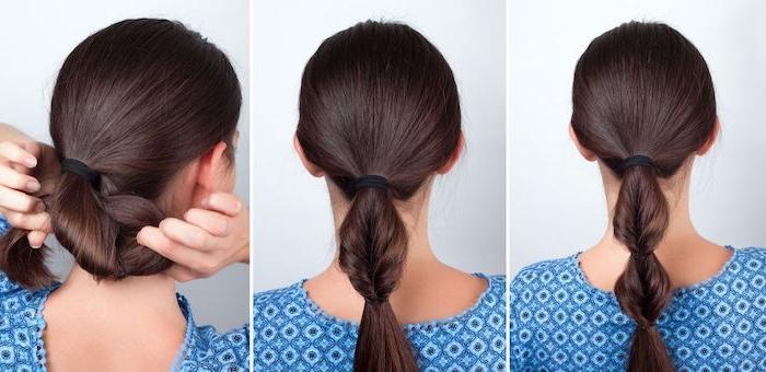 Haare zum Ponytail binden, schöne und schnelle Frisur für den Alltag, lange dunkelbraune Haare