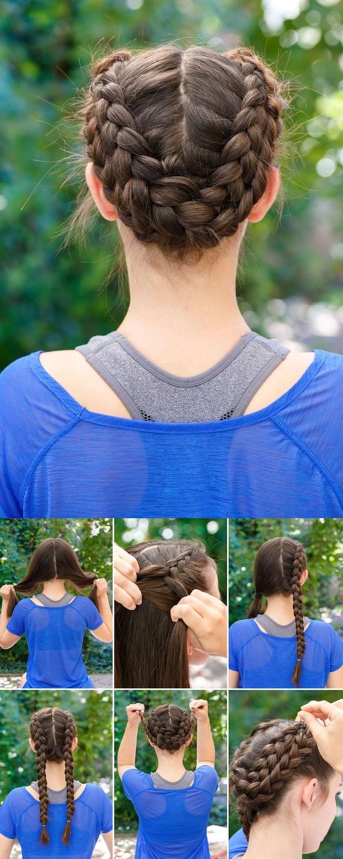 Zopfkranz selber flechten, Schritt für Schritt Anleitung, schöne Frisuren für lange Haare