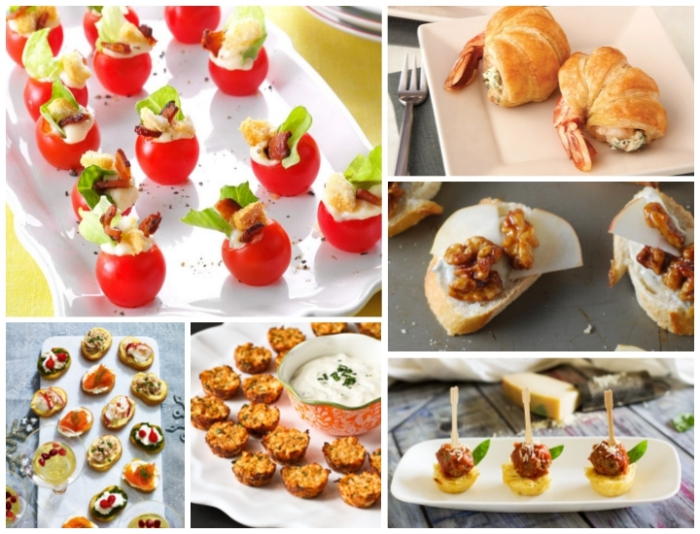 essen für gäste, mini kartoffeln, fleischbällchen mit käse, gefüllte cherry tomaten