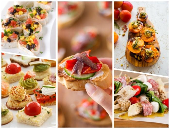 essen für gäste, häppchen ideen, spießen mit mozzarella, salami und tomaten, tortillas