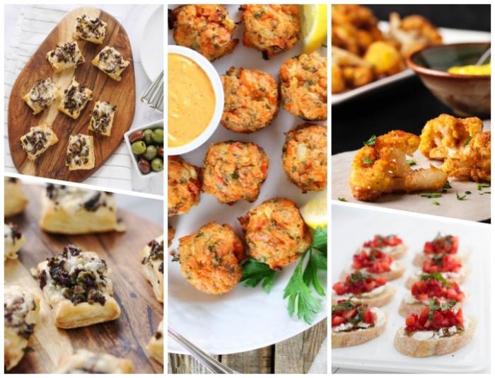 essen für gäste, häppchen mit käse und frühlingszweigel, brotscheiben mit tomaten und basillikum