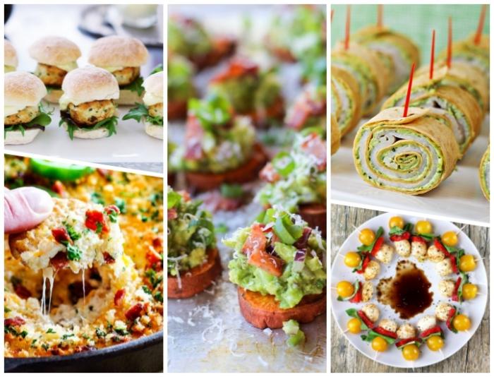 essen für gäste, mini burgerchen, spießen mit gelben cherry tomaten, paprika